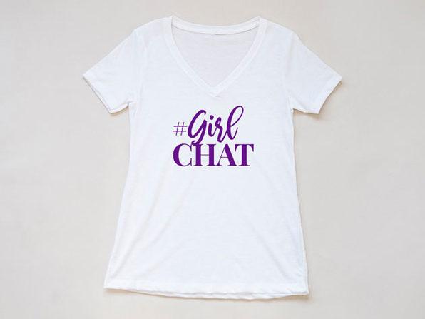 Girl Chat Logo White V Neck-XXL - Product Image