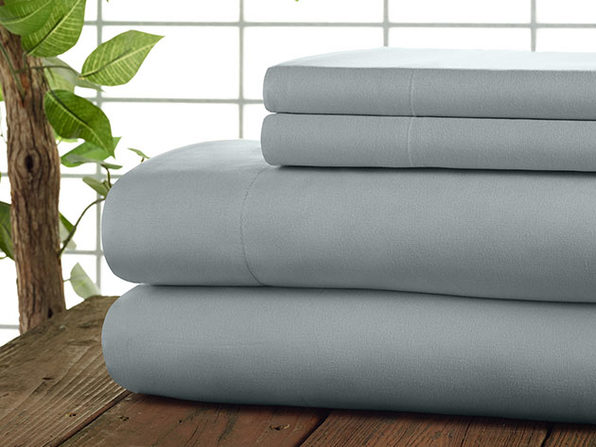 Kathy Ireland 4-Pc Coolmax Sheet Set - Queen - Light Grey - Product Image