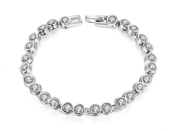 42.00 CTTW Tennis Bracelet with Swarovski Elements (Silver)