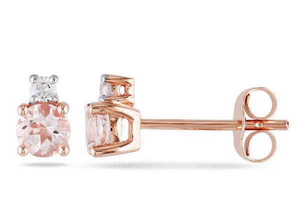 Morganite and Diamond 3/4 Carat (ctw) Earrings in 10K Rose Gold