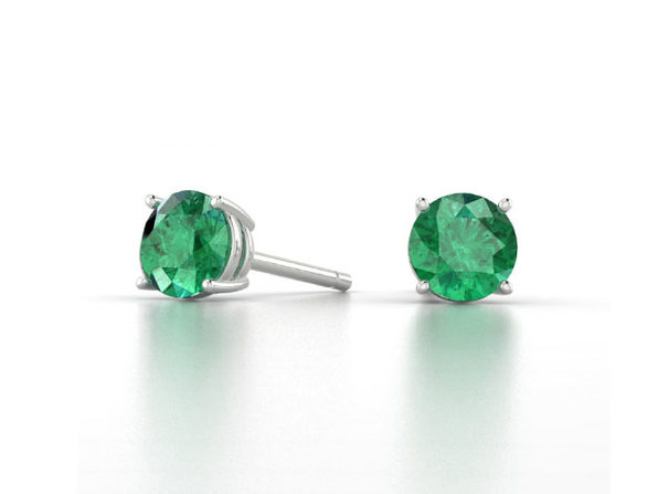 "0.28"" Birthstone Stud Earrings Made with Swarovski Crystals (Emerald)"