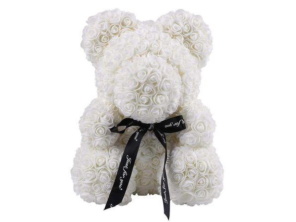 """Homvare Foam Rose Teddy Bear 14"""" with Gift Box for Valentines Day, Anniversary and Birthday - White/Black"""