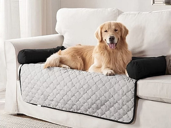 """Silver & Black Reversible Furniture Pet Bed Protectors (45"""" x 34"""") - Product Image"""