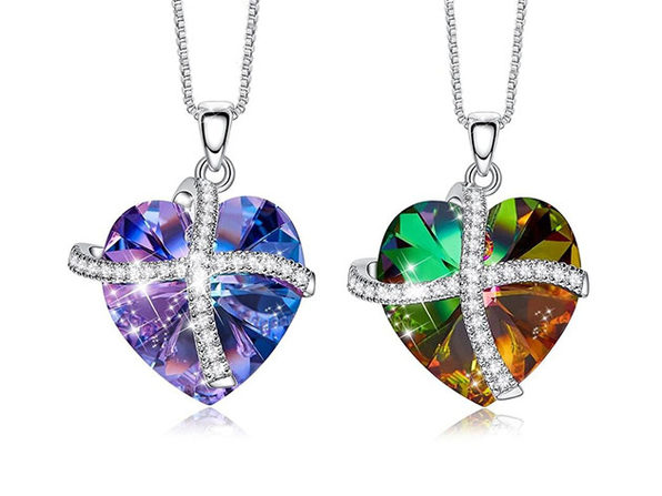 Heart Ribbon Necklace Paved with Swarovski Crystals (Rainbow)