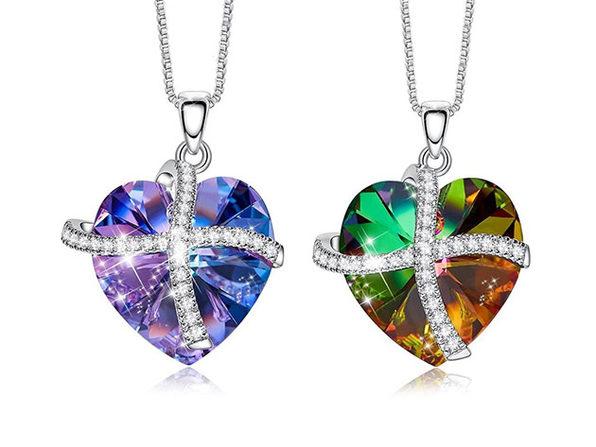 Swarovski Crystals Pave Heart Ribbon Necklace (Rainbow)