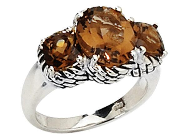 Smokey Quartz Gemstone Three Stone Ring 4.50Carat (ctw) in Sterling Silver - 6
