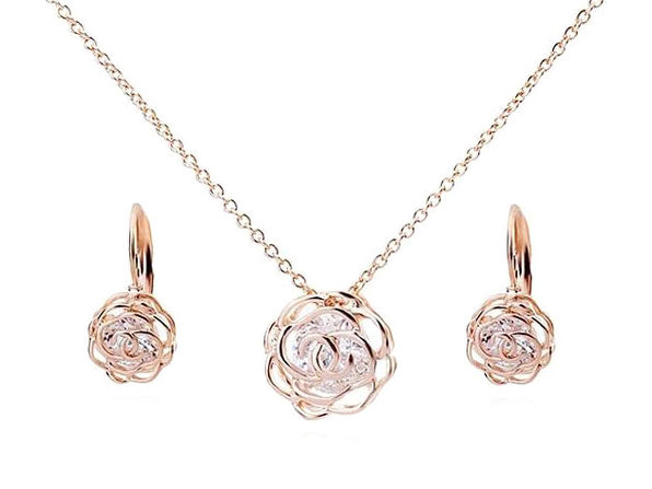 Rose is a Rose Pendant and Earring Set - Rose Gold - Product Image