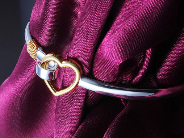 """""""Hold My Heart"""" White & Yellow Gold-Plated Polished Bracelet"""