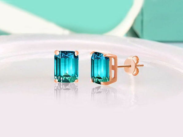 Stud Earrings with Emerald Cut Swarovski Crystals (Aruba Aqua)