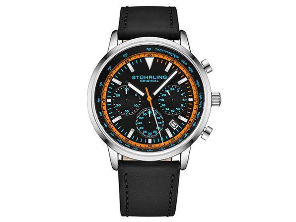 Quartz 44mm Chronograph Men's Watch (Black/Orange)