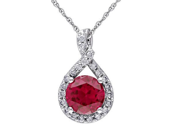 Lab-Created Ruby & Diamond Infinity Pendant Necklace 1.80 Carat (ctw) in 10K White Gold with chain