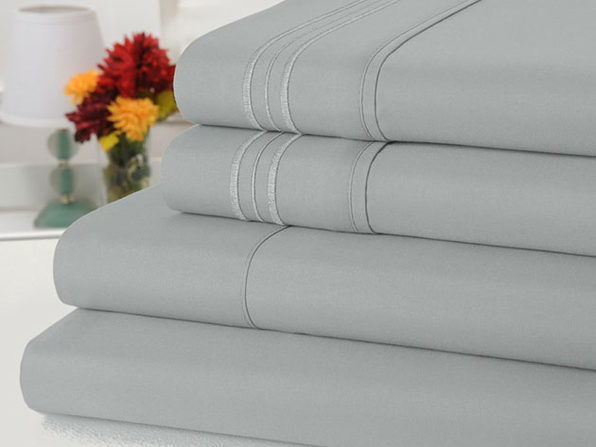 Bamboo Comfort 4 Piece Solid Sheet Set -Queen- Silver - Product Image