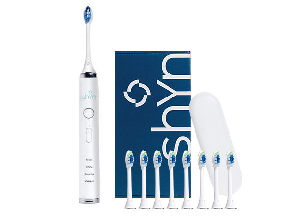 Shyn Sonic Rechargeable Electric Toothbrush with 8 Whitening Brush Heads, Charger, and Travel Case (White)