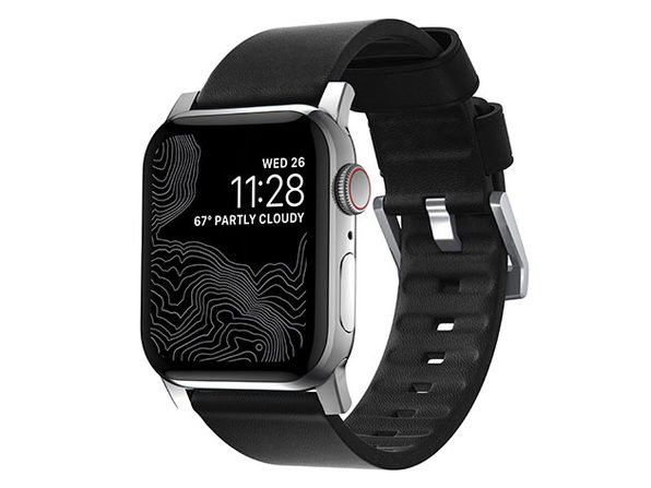 Active Strap: Modern Leather Strap for Apple Watch (Black/Silver)