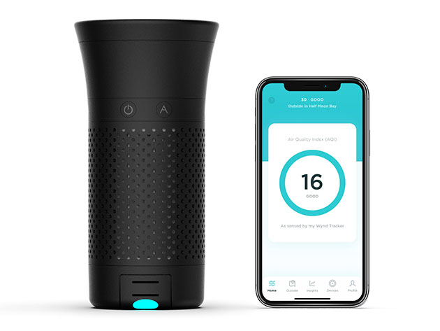 A smart air purifier and a phone showing its app.