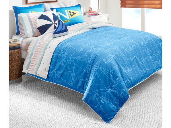 Nautica Kids Reversible Sailboat Blueprint 100% Fine Imported Cotton Comforter Set