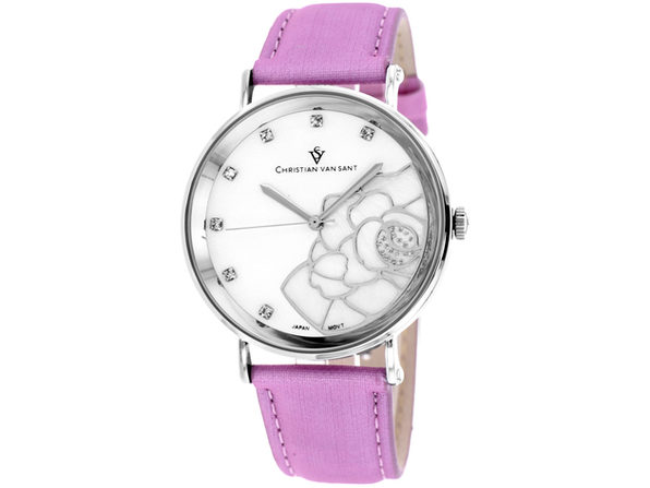 Christian Van Sant Women's Fleur White MOP Dial Watch - CV2213