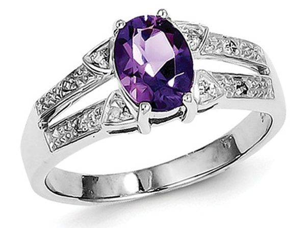 Ladies Amethyst Ring 1.00 Carat (ctw) in Sterling Silver - 8