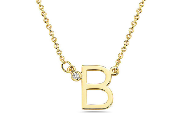 18K Gold Plated CZ Initial Necklaces - B - Product Image