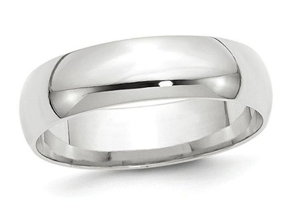 Mens or Ladies 10K White Gold 6mm Comfort Fit Wedding Band - 8