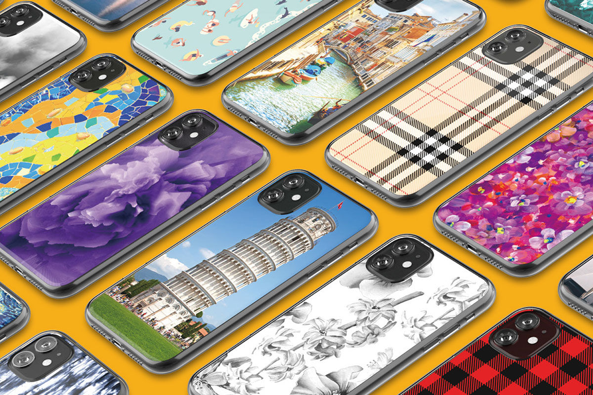 An array of colorful iPhone cases