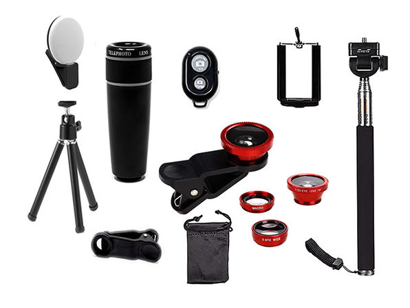 11-in-1 Smartphone Photography Accessory Bundle (Red)