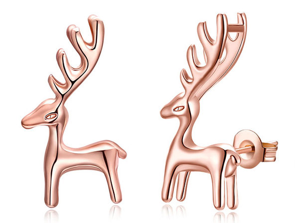 Reindeer Classic Gold Plated Stud Earrings (Rose Gold)