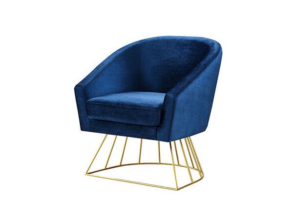Adalene Velvet Accent Chair (Navy/Gold)