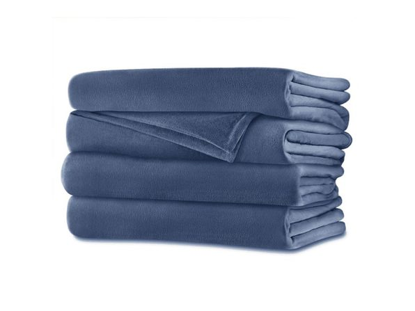 Sunbeam Velvet Plush Electric Heated Blanket Queen Size Dusty Blue Washable Auto Shut Off 20 Heat Settings - Dusty Blue