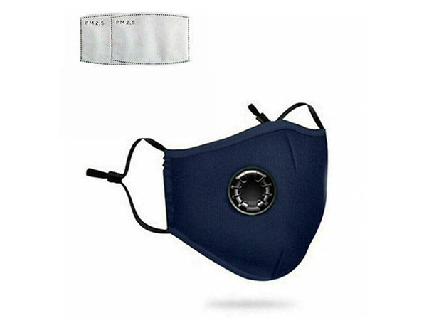 Non-Medical Cotton Masks (Navy Blue/4-Pack) with 8 Filters