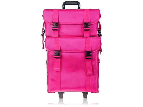 SHANY Soft Makeup Artist Rolling Trolley Cosmetic Case with Free Set of Mesh Bag - JET BLACK