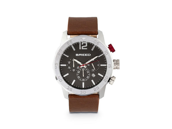 Breed Manuel Chronograph Leather-Band Watch