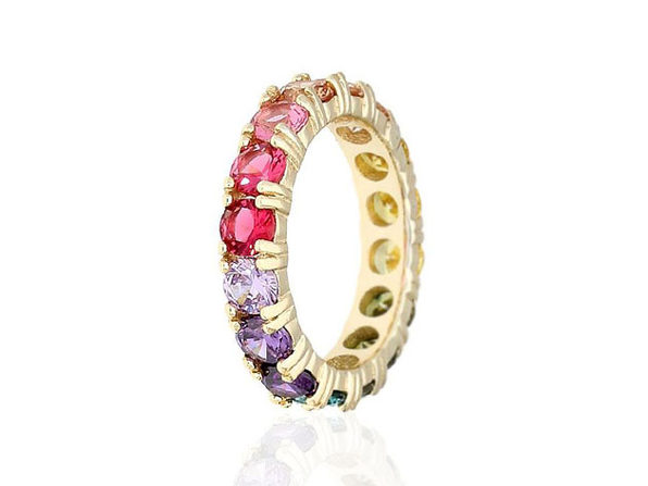 STERLING SILVER ROUND CUT MULTICOLORED GEMSTONES ETERNITY BAND RING - Size 8 - Product Image