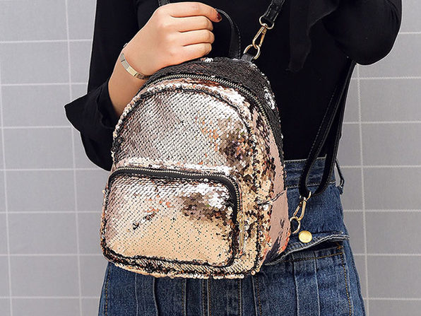 Sequin Mini Backpack (Silver)