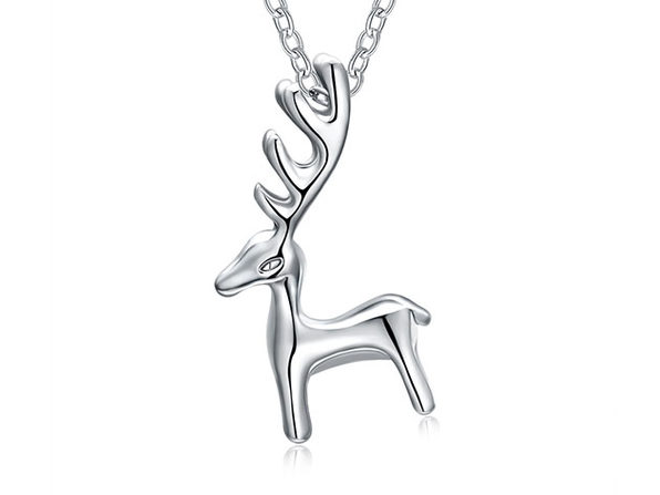 Sleek Reindeer Necklace in 14K Gold Plating (White Gold)