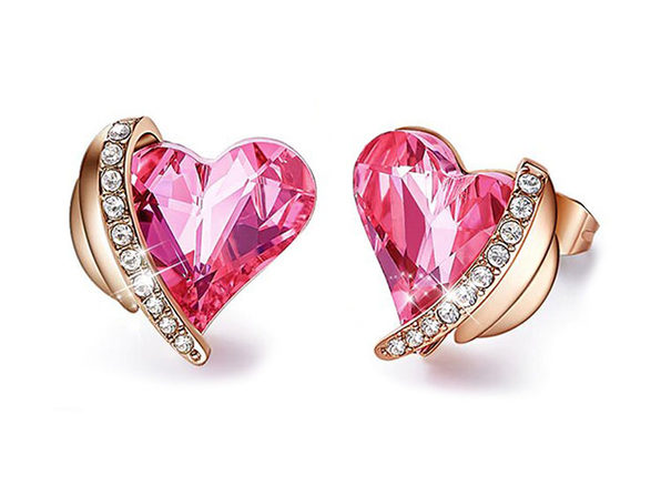 Pink Topaz Heart Stud Earrings in 18K White Gold Plating