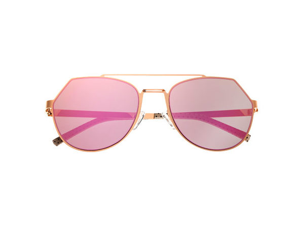 Bertha Hadley Aviator Sunglasses (Rose Gold Metal)