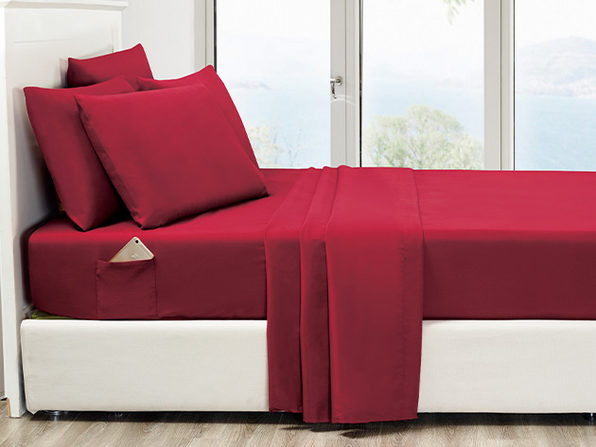 6-Piece Burgundy Ultra Soft Bed Sheet Set with Side Pockets Queen - Product Image
