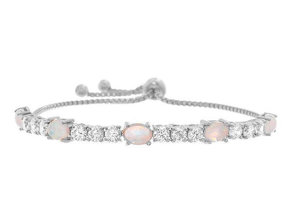 Adjustable Tennis Bracelet Ft. Fiery Opal & Swarovski Elements (Silver)