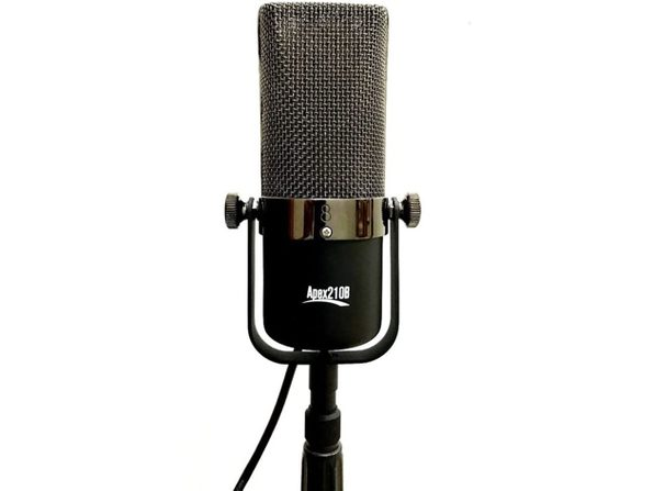 APEX 210B Large Element Classic Ribbon Microphone Natural Sounding Audio - Black (Used, Damaged Retail Box)