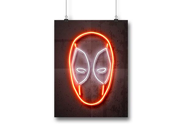 Octavian Mielu Neon Illusion Wall Art (Deadpool 12x16)
