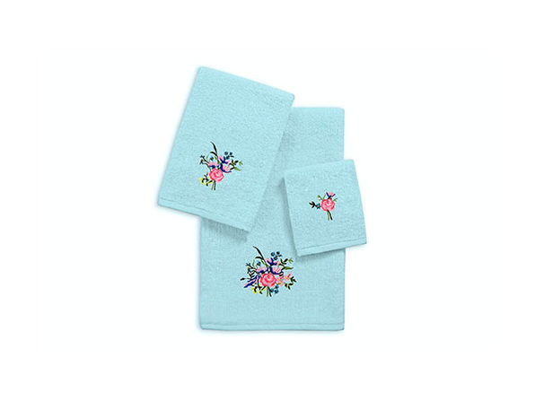 3-Piece Zero Twist Embroidered Towel Set (Aqua/Roses)