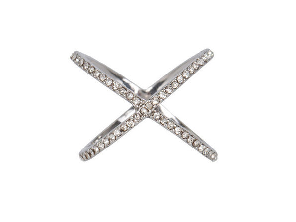 XO Pave Ring in Silver (Size 8)
