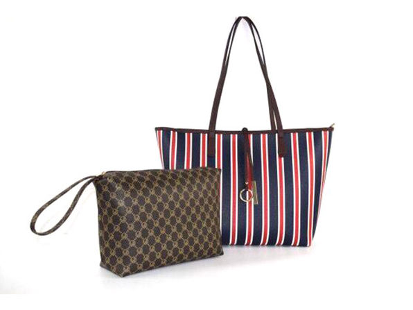 Striped Collection Tote And Wallet Set Coffee - Product Image