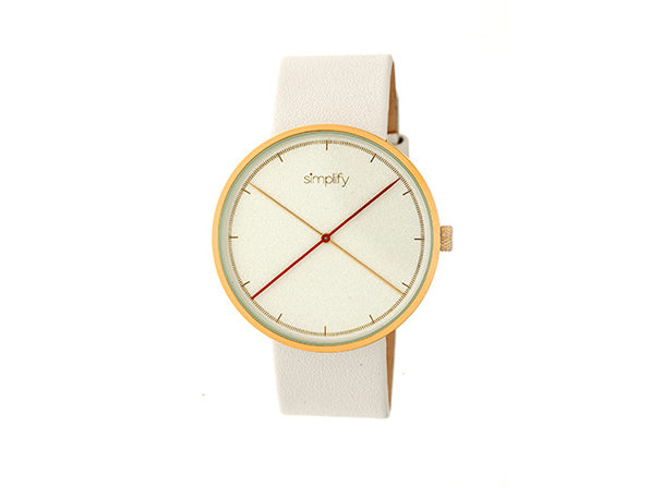 Simplify 4100 Unisex Watch (White/Gold)