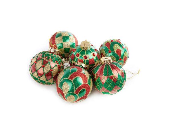 MacKenzie-Childs Aberdeen Glass Ball Ornaments - Set of 6