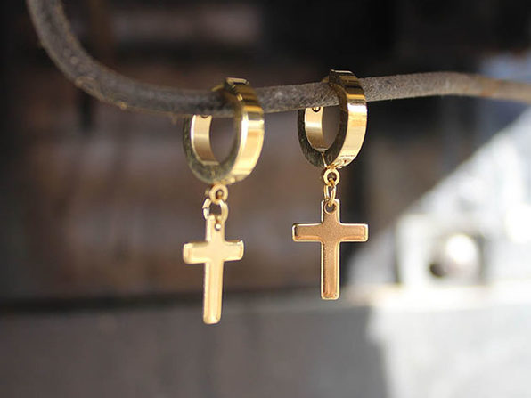Cross Earrings in Gold