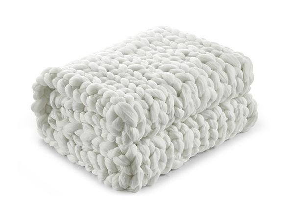 """Cozy Tyme Manon Chunky Knit Throw (Cream White/40""""x60"""")"""
