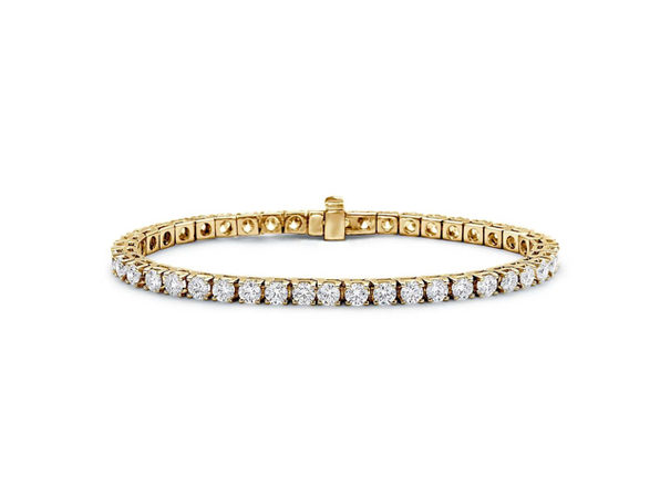 18k Over Sterling Silver Tennis Round Bracelet 	Yellow Round - Product Image