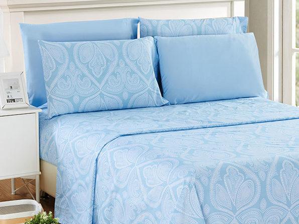 Paisley Sheet 6 Pcs Blue - Queen - Product Image
